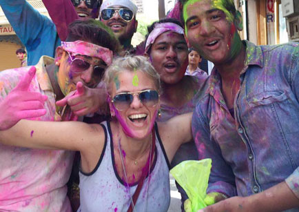 Gaby celebrating holi in India